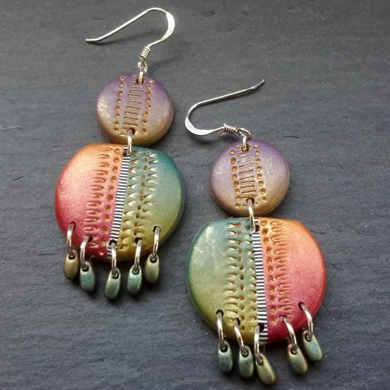 Multicolour Statement Double Disc Chandelier Earrings