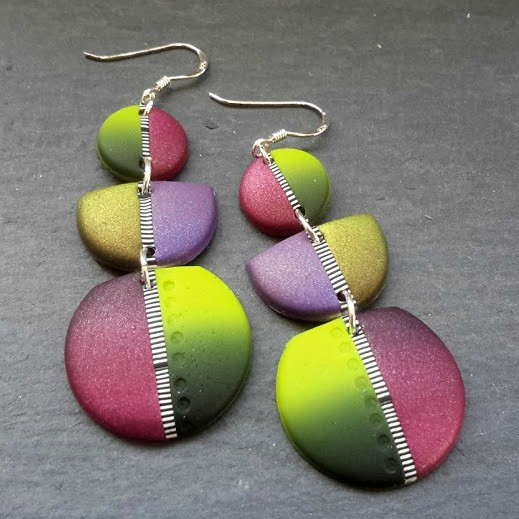 Vibrant Multicoloured Triple Drop Disc Earrings