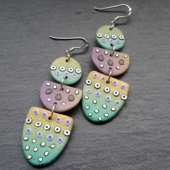 Aqua Pastel Triple Drop Geometric Dot Earrings