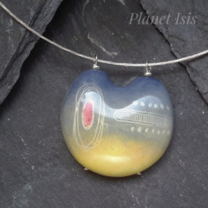 Grey & Yellow Geometric Art Choker Pendant