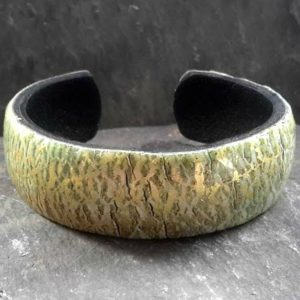 Pale Green Grey and Gold Crackled Cuff Bracelet