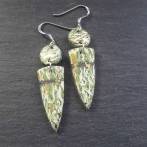 Green Grey Golden Crackle style Double Dangle Earrings