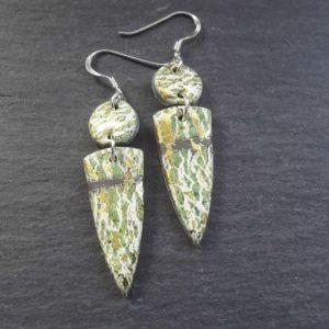 Green Grey Golden Crackle style Double Dangle Earrings