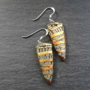 Neutral and Copper Crackled Spear Drop Earrings