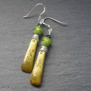 Green Ombre Rustic Boho Dangle Earrings
