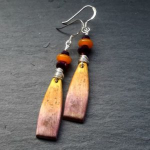 Dusky Ombre Rustic Wire Wrapped Dangle Earrings
