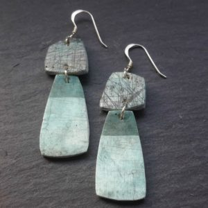 Modern Turquoise Geometric Two Part Dangle Earrings