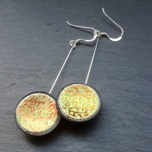 Green & Copper Concaved Disc Dangle Earrings
