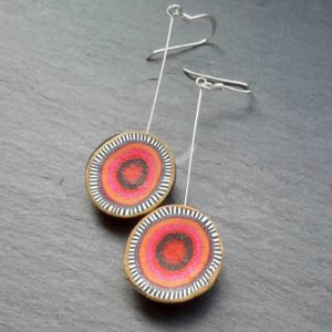Red Long Dangle Disc Earrings with Concentric Circles