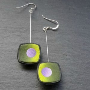 Square Concaved Drop Earrings in Green and Purple