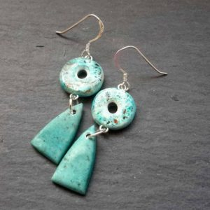 Rustic Styled Faux Turquoise Double Drop Earrings