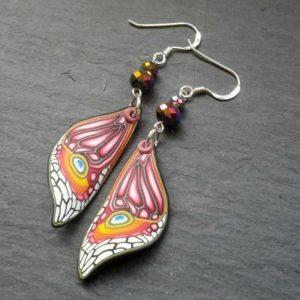 Pink Butterfly Wing Shaped Dangle Earrings