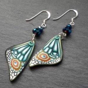 Blue Dangle Butterfly Wing Earrings