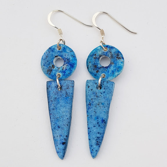 Lapis Blue Two Part Rustic Style Drop Earrings