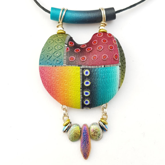 Vibrant Colour Mix Ethnic Disc Pendant with Dangle Drop