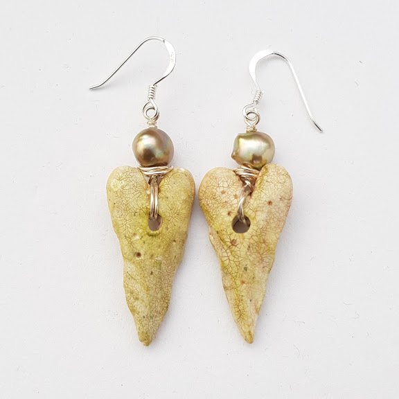 'Stone' Heart Sculpted Rustic Earrings