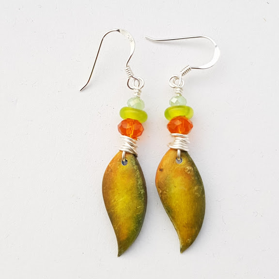Leaf Shaped Wire Wrapped Earrings in Autumn Shades