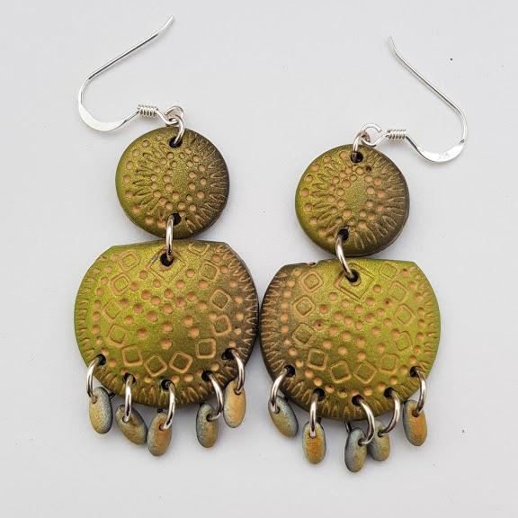 Shimmering Earthy Green Carved Chandelier Earrings