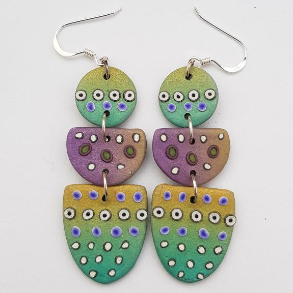Aqua Pastel Triple Drop Geometric Dot Earrings