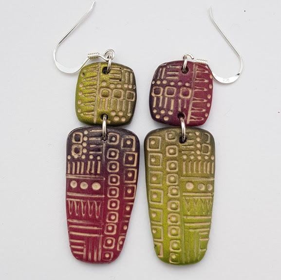 Wine Red and Green Asymetric Dangle Earrings