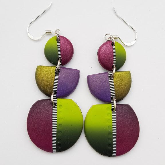 Vibrant Berry Tones Triple Drop Disc Earrings