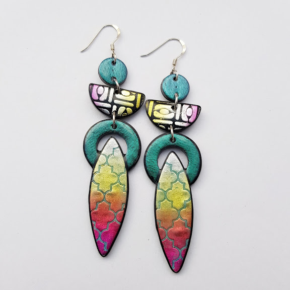 Triple Drop Dangles-Marrakesh-Pale Sunset Earrings