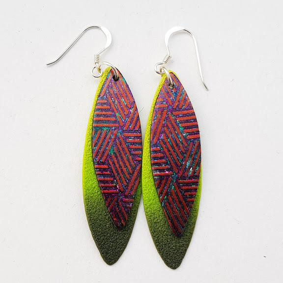 Green & Burnt Orange Double 'Leaf' Dangle Earrings