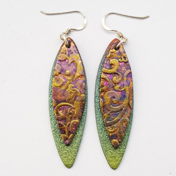 Sea Green & Gold Baroque Double 'Leaf' Dangle Earrings