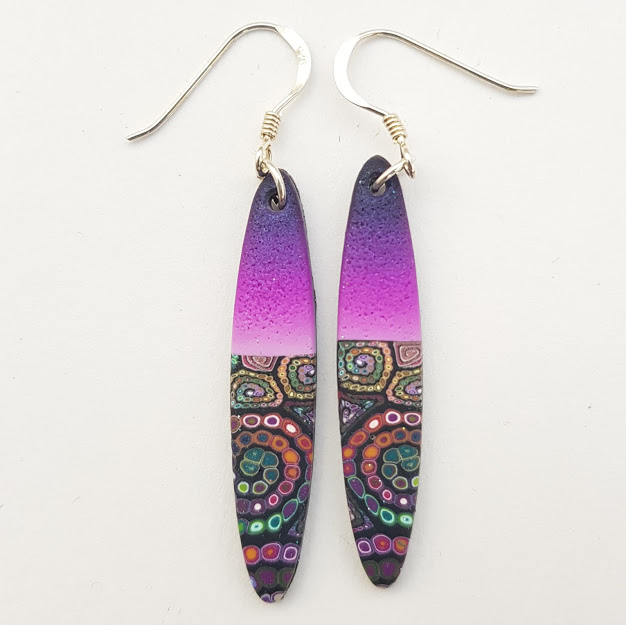 Millefiori Contrast Deep Violet Ellipse Drop Earrings