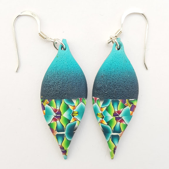 Blue Ombre Millefiori Contrast 'Lantern' Drop Earrings