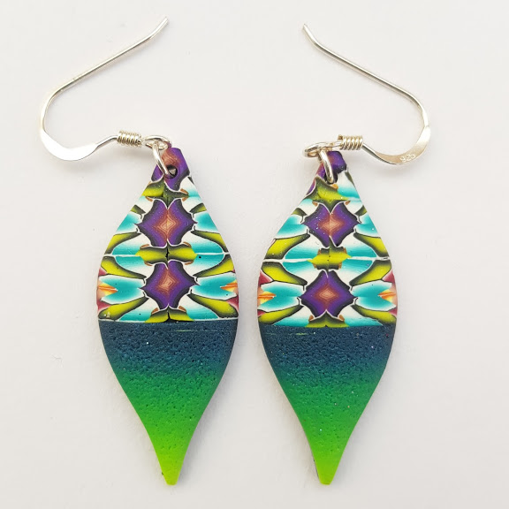 Green Blue Millefiori Contrast 'Lantern' Drop Earrings