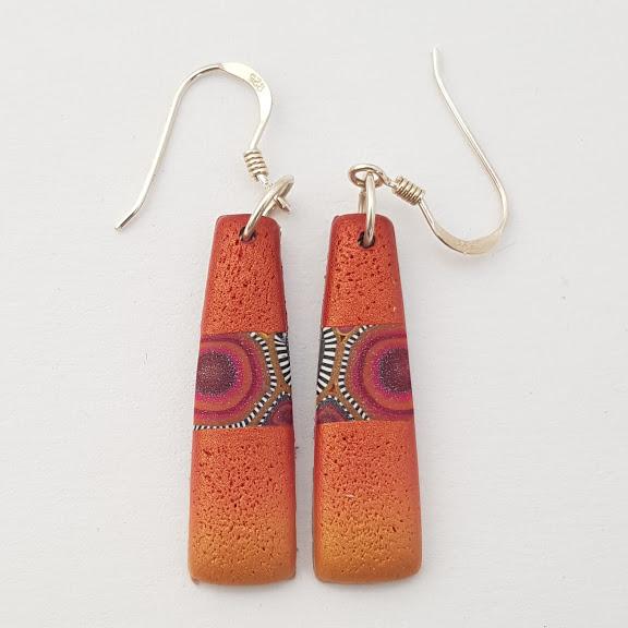 Millefiori Contrast Orange Red Geometric Drop Earrings