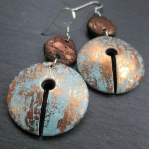 Keyhole Disc Dangle Earrings-Rivers of Gold