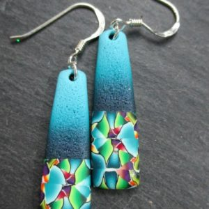 Ombre Blue Millefiori Contrast Geometric Drop Earrings
