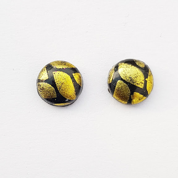 Small Stud Earrings in Contrasting Yellow & Black Design