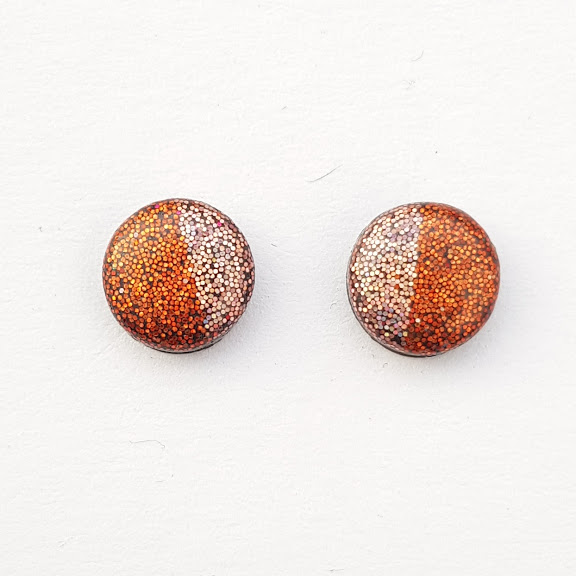 Two-Toned Holographic Small Stud Earrings in Copper & Pink