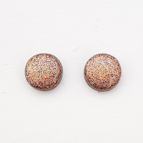 Holographic Dusky Pink Small Stud Earrings