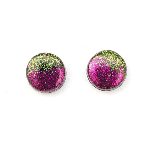 Small Stud Earrings in Holographic Purple & Green