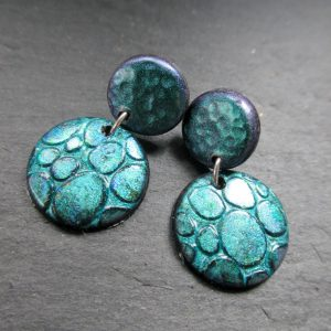Turquoise-Purple Small Stud Dangle Disc Earrings