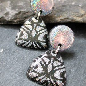 Small Dangle Stud Earrings in Holographic Silver & Black