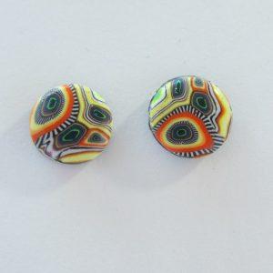 Yellow-Orange Funky Patterned Small Stud Earrings