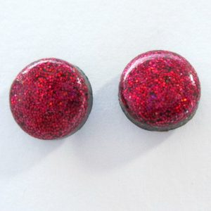 Small Stud Earrings in Holographic Pink Raspberry