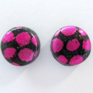 Dotty Pink & Black Small Stud Earrings