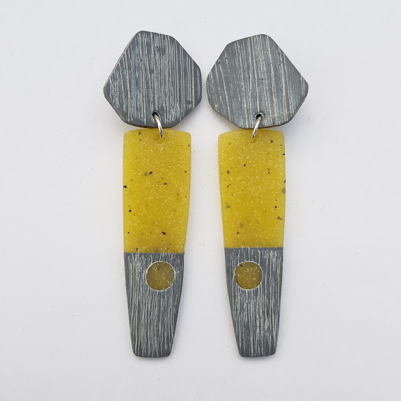 Charcoal & 'Green Amber' Rustic  Earrings