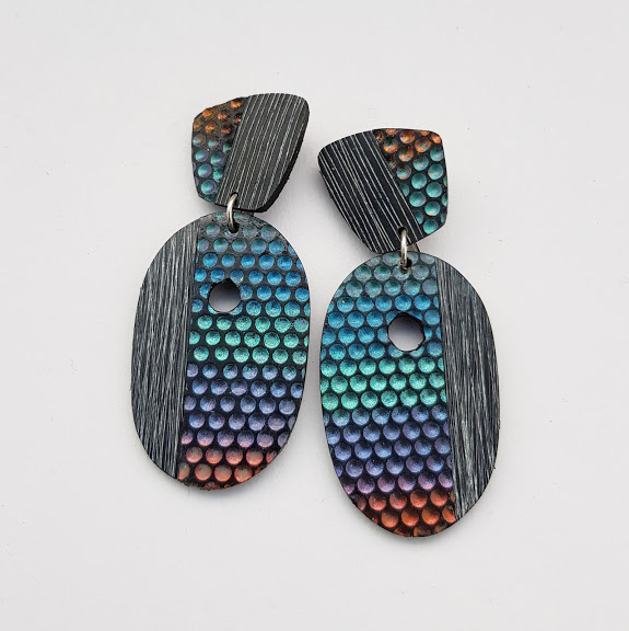 Charcoal Colour-Shifting Dot Earrings