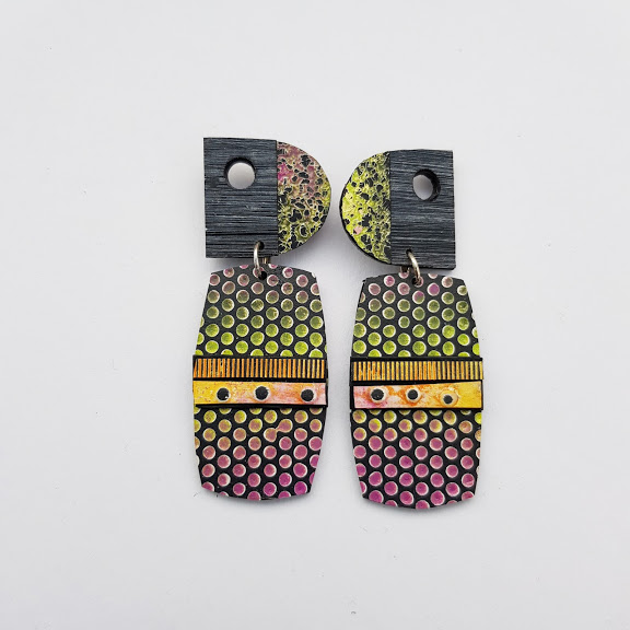 Plum & Lime Peek-a-Boo Art Earrings