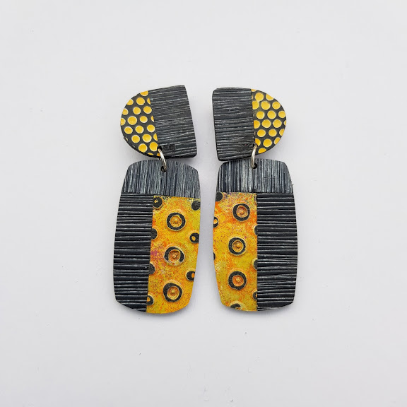 Charcoal & Pumpkin Yellow Art Earrings