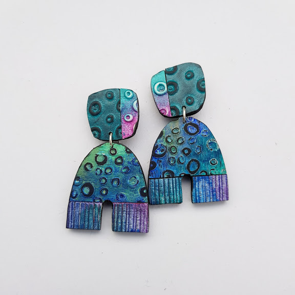 Aqua-tone Arch Earrings