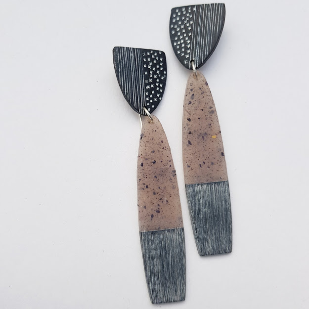 Charcoal & Faux Smokey Quartz Rustic Art Earrings