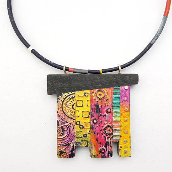 Stepped Abstraction Reversible Art Pendant